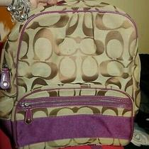 Coach F77171 Signature Stripe Large Full-Size Jacquard Backpack-Khaki Purple Photo