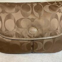 Coach F77490 Signature C British Tan Nylon Messenger Bag/large With Patent Trim Photo