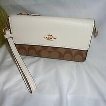 Coach F78229 Signature Foldover Wristlet Clutch Handbag Khaki Chalk Wallet Photo