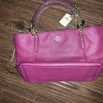 Coach F87775 Dark Berry Ava Pebbled Leather Gold Chain Tote Handbag Nwt 398 Photo