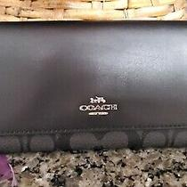 Coach F88024 Trifold Wallet in Signature Canvas  Black Smoke/black New Photo