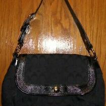 Coach Fabric Handbag Purse With Flap Magnetic Closure F13739 Black Small Hobo Photo