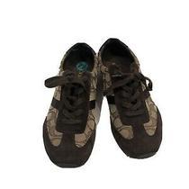Coach Fashion Sneakers Brown Suede & Fabric Logo Shoes Lace Up Women Sz 7.5 Photo