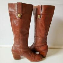 Coach Fayth Womens Whisky Brown Knee High Heel Leather Boots Size 7b Shoes Photo