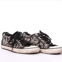 Coach Felix Women's Signature Sneakers Lace Up Tennis Shoes A5010 Black White 7m Photo