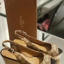 Coach Ferry Logo Wedge Sandals Brown Ao1057 Size 8 Photo