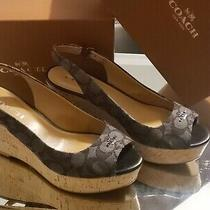 Coach Ferry Logo Wedge Sandals Grey/ Black Ao1057 Size 8 Photo