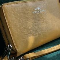 Coach Fine Leather Double Zipper Around Wristlet Wallet - Autumn Yellow Photo