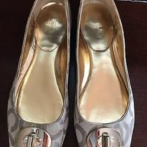 Coach Flats 8 Peep Toe Signature Beige/brown Gold Trim Ballet Style Photo