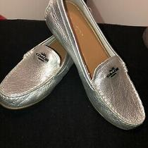 Coach Flats Women Loafers Metallic Silver Style Mary Lock Up Comfort 8.5 Photo