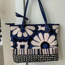 Coach Floral Canvas Blue Off White Tote Bag Handbag Zip Top C1373-251123 Photo