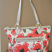 Coach Floral Poppy Excellent Condition 23263 Shoulder Bag Scarf Like Fabric Photo
