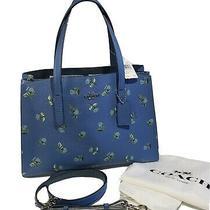 Coach Floral Print Charli Handbag Slate Blue Silver 68290 Nwt 13 3/4