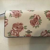 Coach  Floral Print Foldover Crossbody Clutch Leather Bag  Photo
