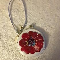 Coach Flower Applique Kisslock Framed White Coin Purse Wristlet Photo