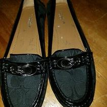 Coach Fortunata Women's 6.5 Black Monogram Drivers Loafers Flats Photo