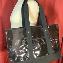 Coach Fragrance Transparent Clear Black Canvas Pvc Shopper Tote Shoulder Bag Lg Photo