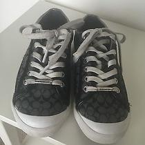 Coach Francesca Low Top Logo Sneakers Graphite Black Pewter Canvas Lace Up 6.5b Photo