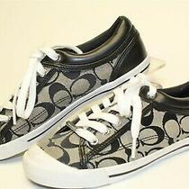 Coach Francesca Womens 36.5 6.5 B Black Signature Logo Canvas Sneakers Shoes New Photo