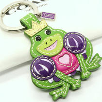 Coach Frog Green Leather Keychain Keyring Key Fob Bag Purse Charm 92956 Nwt    Photo