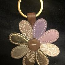 Coach Fs1742 Pink Silver Gold Suede Flower  Charm Keychain Fob Purse Charms   Photo