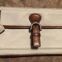 Coach Fs7156 White Tan Leather Silver Large Flap Front Wristlet Wallet Hangtag Photo