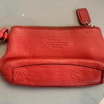 Coach Fuchsia Leather Wristlet Wallet Zipper Change Pouch Photo