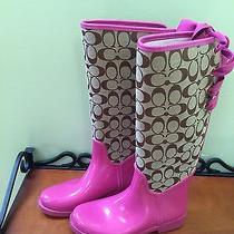 Coach Fuchsia (Rare) Tristee Rain Boots Sz 7 Edited to Fix Shipping Price Error Photo