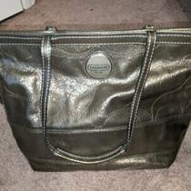 Coachfull Leather Shoulder Tote Bagzipsgrey Stitched Logo Handbagpursehand Photo
