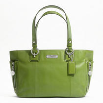 Coach Gallery Leather Zipper Tote Style F19252 Sv/green Photo