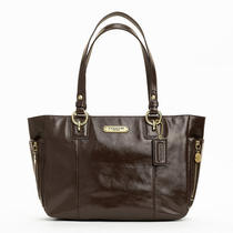 Coach Gallery Patent Zipper Tote Style F20431 B4/mahogany Photo
