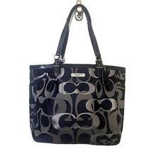 Coach Gallery Purse Navy Blue Silver Optic Metallic Signature Handbag Bag F19675 Photo
