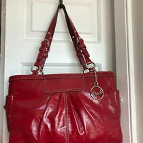 Coach Gallery Red Liquid Gloss Leather Pocket Zip Tote Handbag Shoulder Bag Photo