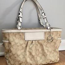 Coach Gallery Shoulder Bag Purse Tote Tan Jacquard/white Leather 14281 Euc Photo