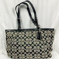 Coach Gallery Signature Monogram Large Tote Hand Bag Black and Cream Flaws Photo