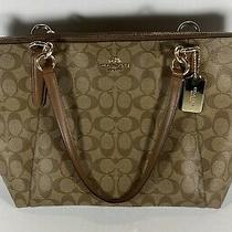 Coach Gallery Tote Purse Bag B1780-F58318 Tan/brown Signature Canvas Used - Good Photo