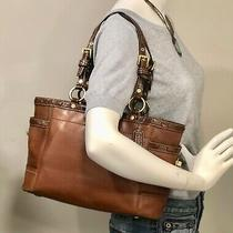 Coach Gallery Two Tone Brown  Laced Leather Tote Bag 11229 Photo