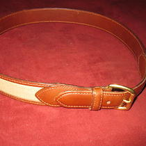 Coach Genuine Leather & Beige Canvas Belt Brass Buckle Size 3280cm Made Turkey Photo
