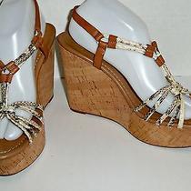 Coach Georgiana Leather Strap Wedge Sandals 5