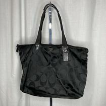 Coach Getaway Signature Nylon Packable Weekender Tote Bag Pouch F77321 Black Photo