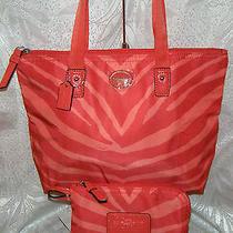 Coach Getaway Zebra Print Nylon Small Packable Tote Bag  Hot Orange  77534  Nwt Photo