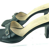 Coach Gilda Leather Black Heel Slides Open Toe Sandals Buckle Accent 10 B Italy Photo