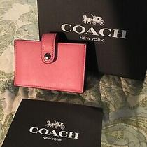 Coach Glove Tanned Leather Accordion Card Case Pink With Multiple Pink Interior Photo