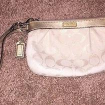 Coach Gold Beige Wristlet With Leather Handle Photo