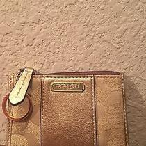 Coach Gold Credit Card/id Holder Change Purse With Key Ring Photo