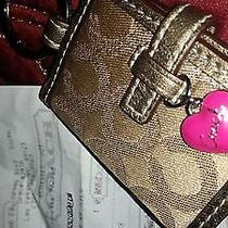 Coach  Gold Double Picture Key Ring Key Chain Pink Heartnew Photo