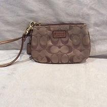 Coach Gold Fabric and Leather Wristlet Photo