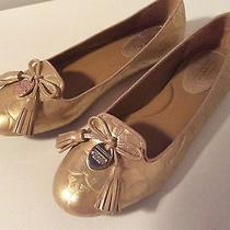 Coach Gold Flats Slip on Tassel Shoes Photo