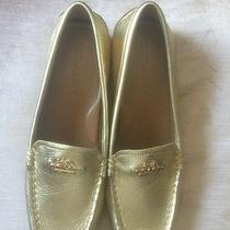 Coach Gold Leather Driving Moccasins Newsz 6-1/2 Photo