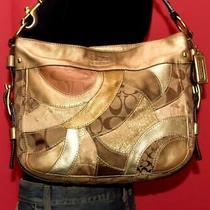 Coach Gold Leather Patchwork Zoe Med Hobo Metallic Jacquard Hobo Purse Bag 12663 Photo